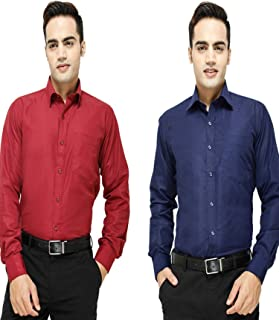 Super Weston Plain Mehroon and Navy Casual Shirts For Men's For Summers