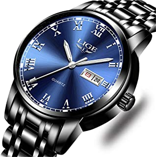 Mens Watches Fashion Simple Quartz Analog Watch Men Luxury Brand LIGE Waterproof Date Silver Blue Stainless Steel Watch …