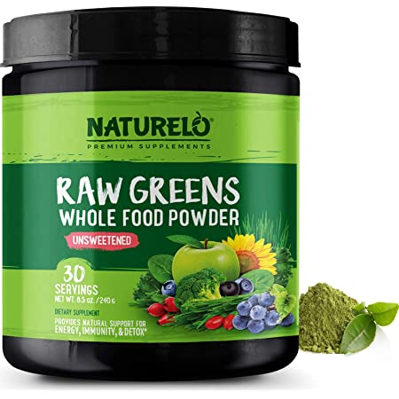 NATURELO Raw Greens Superfood Powder - Unsweetened - Boost Energy, Detox, Enhance Health - Organic Spirulina - Wheat Grass - Whole Food Nutrition from Fruits and Vegetables - 30 Servings