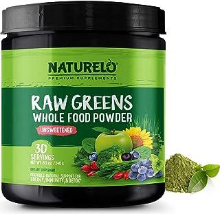 NATURELO Raw Greens Superfood Powder - Detox, Enhance Health - Organic Spirulina & Wheat Grass - Whole Food Vitamins from ...