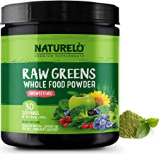 NATURELO Raw Greens Superfood Powder - Detox, Enhance Health - Organic Spirulina & Wheat Grass - Whole Food Vitamins from Fruit & Vegetable Extracts 30 Servings - Unsweetened