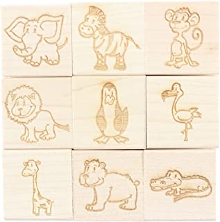 Zoo Animals - Engraved Wood Rubber Stamp Set - 9 Pieces
