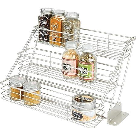 mDesign rangement à épices à 3 étages pour le placard de la cuisine – organiseur de cuisine pratique en métal – étagère à épices compacte – argenté mat