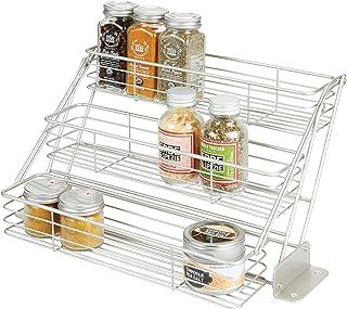 mDesign rangement à épices à 3 étages pour le placard de la cuisine – organiseur de cuisine pratique en métal – étagère à ...