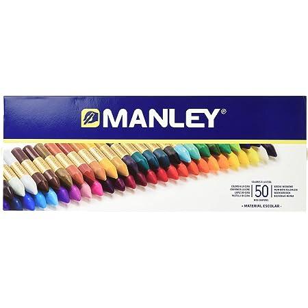 Ceras Manley 50 Unidades - Caja de Cera Profesional y Ceras para Niños - Ceras de Colores para Material Escolar - Blandas, Fabricacion Artesanal, Amplia Gama de Colores