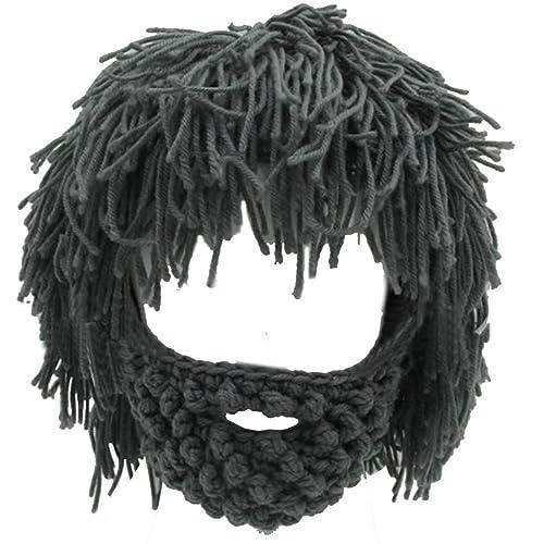 Lerben® Men Women Knit Bearded Hats Handmade Wig Winter Warm Ski Mask Beanie 35c6519c7f
