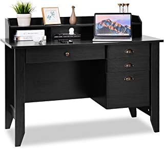 Tangkula Computer Desk, Home Office Desk, Wood Frame Vintage Style Student Table with 4..