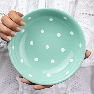 City to Cottage Handmade Teal Blue and White Pottery Polka Dot Glazed 7.3inch/18.5cm, 14oz/400ml Salad, Pasta, Fruit, Cereal, Soup Bowl | Unique Ceramic Dinnerware, Housewarming Gift