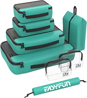 Packing Cubes, 8 Set Luggage Organizer for Travel Suitcase Include 2 Toiletry Bags and 2 Shoe Bags