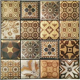 DIY Decals Tiles Waterproof Wall Stickers for Bathroom/Kitchen/Living Room Peel and Stick 3D Tile Backsplash in Mexican Talavera Riser