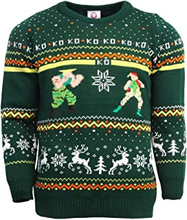 Official Street Fighter Guile vs Cammy Christmas Jumper/Ugly Sweater UK L/US M Green
