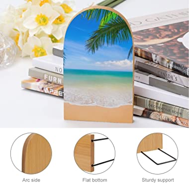 Book Ends,Bookends for Shelves,Palms Ocean Tropical Metal Base Bookends to Hold Books Heavy Duty Wood Bookends for Heavy Book