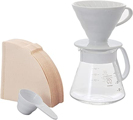 Hario V60 Size 02 Pour Over Set with Ceramic Dripper, Glass Server, Scoop and Filters, White