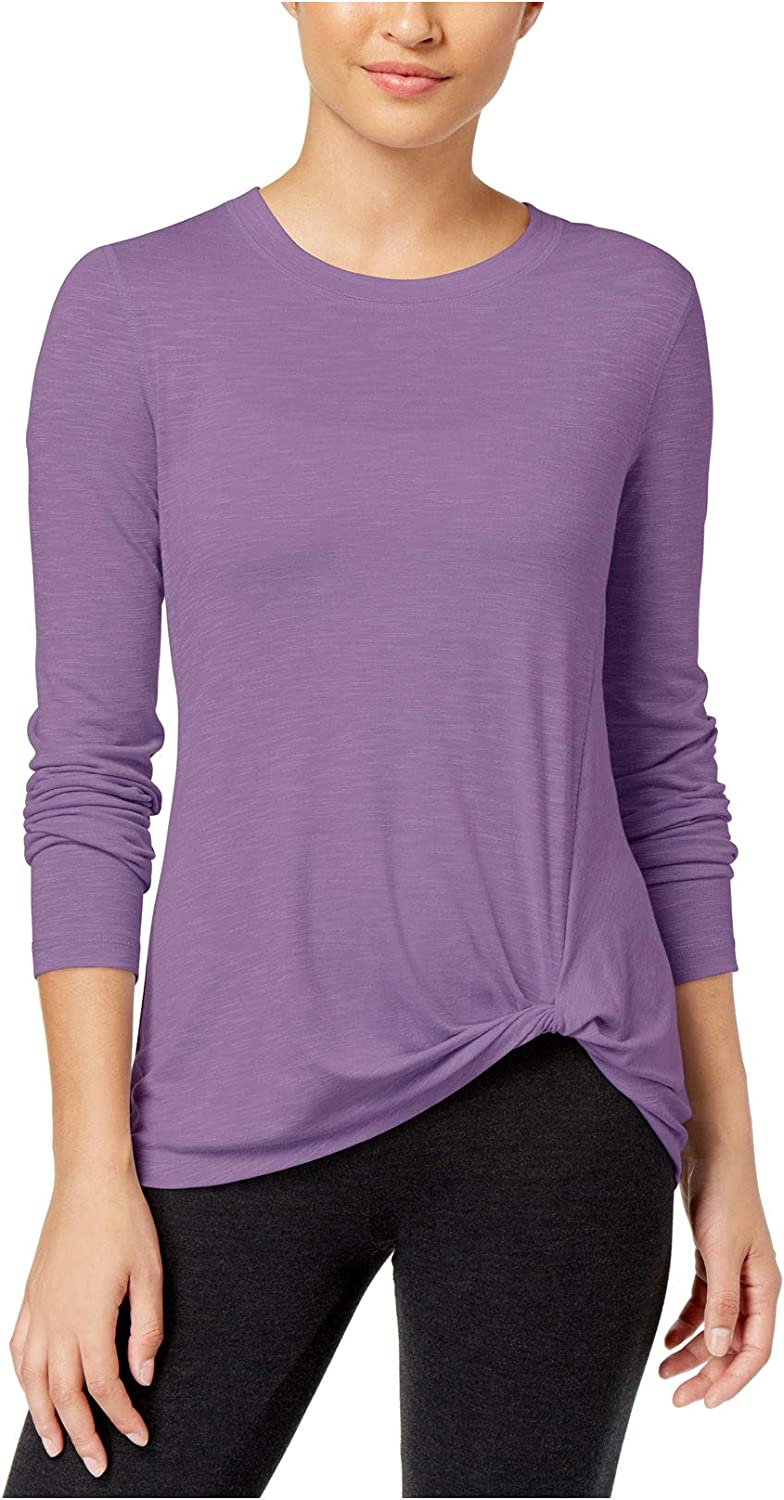 Ideology Knotted LongSleeve Top,XL, Heirloom Mauve
