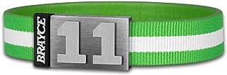 BRAYCE Trikot am Handgelenk mit Deiner Trikot Nummer 00-99 I Armband grün & weiß I Sportarmband/Teamarmband personalisierbar & handgemacht