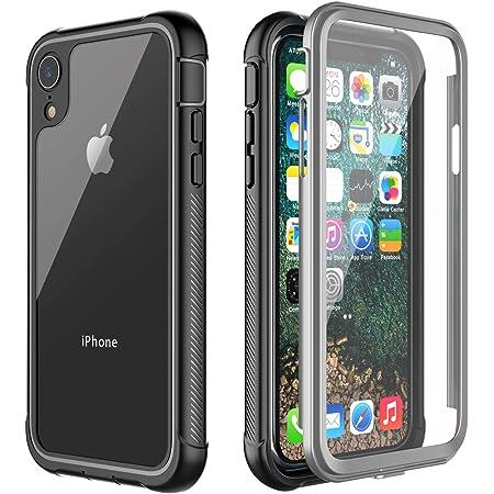 iphone xr ケース 米軍MIL規格 耐衝撃 360全面保護 薄型 軽量 画面保護フィルム付き ワイヤレス充電対応 フィット感が良い 楽に操作 脱着簡単 クリアな裏面 アウトドア適 アイフォン xr ケース 6.1インチ(黒色)