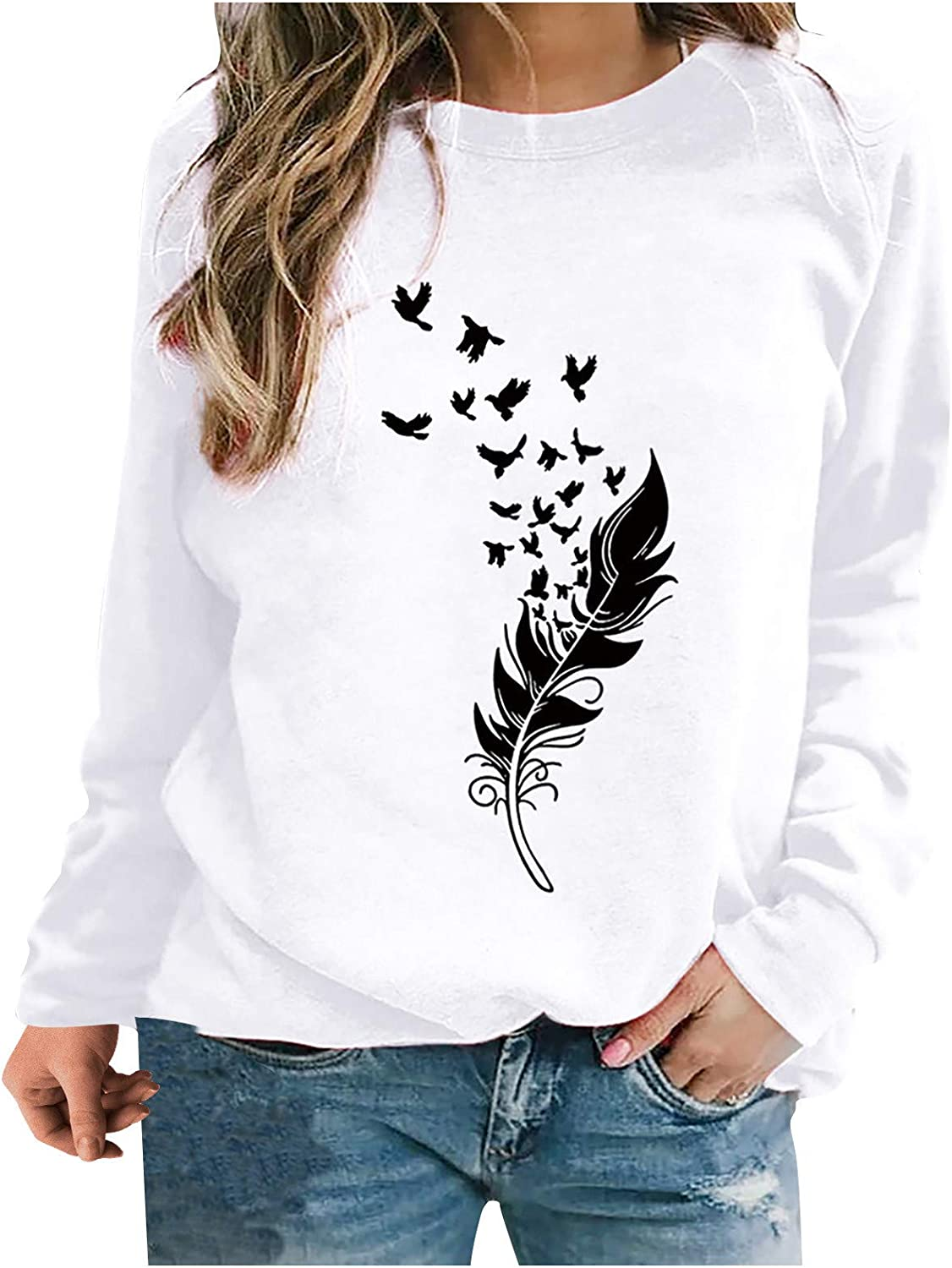 Sweatshirts for Women,Womens Long Sleeve Pullover Casual Vintage Feather Printed Plus Size Crewneck Sweatshirts