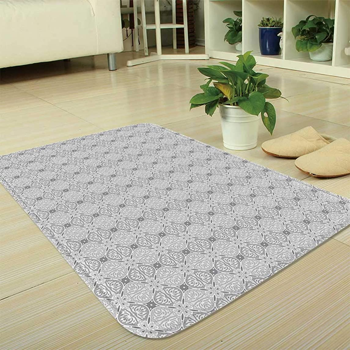 YOLIYANA Bath Mat,Damask,for Dining Room Bathroom Office,35.43