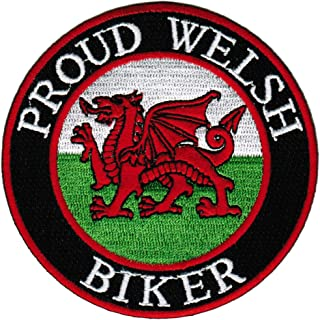 Proud Welsh Biker Embroidered Patch Wales Flag Iron-On Cymru Motorcycle Emblem