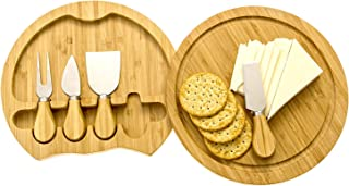 Round 4-Piece Bamboo Cheese Board Cutting Board & Cutlery Set with Slide-Out Drawer Includes Cheddar, Stilton, Hard Cheese Knive and Cheese Fork Set by Intriom Bamboo Collection