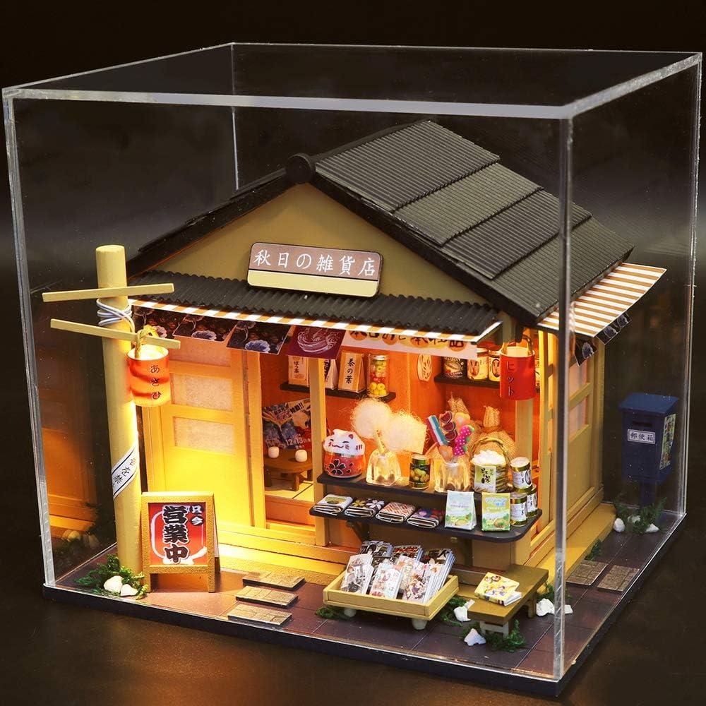 Equipo de casa de mu/ñecas de Madera DIY m/ás Resistente al Polvo y el Movimiento de m/úsica CUTEBEE Miniatura de la casa de mu/ñecas con Muebles