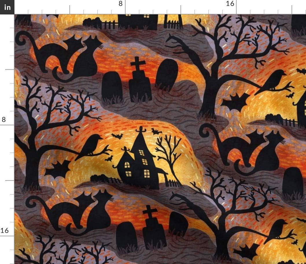Spoonflower Max 77% OFF Fabric - Limited Special Price Spooky Halloween Purple Cat Haunts Orange G