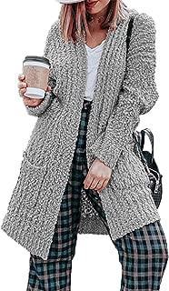 HZSONNE Womens' Boho Fuzzy Knitted Cardigan Chunky Sweater Sherpa Fleece Pointelle Full Sleeve Blouse