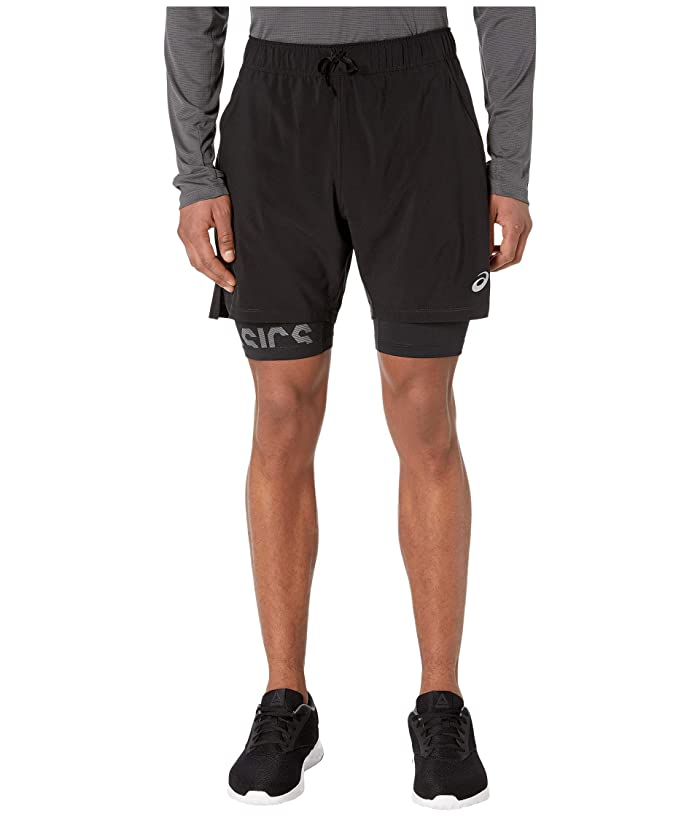 ASICS  7 Stretch Woven 2-in-1 (Performance Black/Performance Black) Mens Shorts