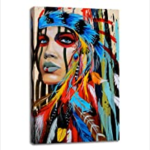 BYXART Framed Wall Art Poster, Colorful Modern Canvas Prints Home Decor Canvas Painting Artwork, Native American Girl Feathered Beautiful Women Wall Hanging Art (24x36inx1x1)