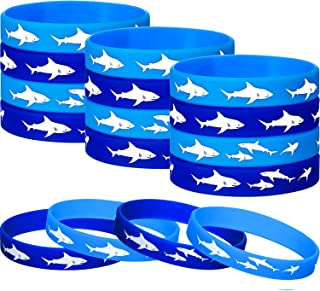 60 Pieces Shark Party Favors Rubber Wristbands Bracelet, Under the Sea, Shark Birthday Party Favors Supplies Gift Decorations (60 Pieces)