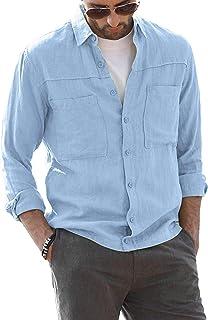 AUDATE Mens Cotton Linen Shirt Long Sleeve Solid Button-Down Casual Summer Beach Shirts