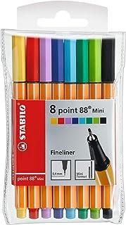 Fineliner Pen - STABILO point 88 Mini - Wallet of 8 (Assorted Colours)