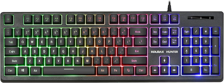 KOLMAX Gaming Keyboard,Rainbow LED Backlit Quiet Keyboard for Office, USB 12 Multimedia Keys,19 Keys Anti-ghosting Computer Office Keyboard 104 Keys for Windows PC Mac Gaming Black