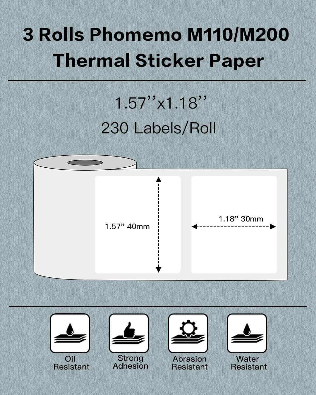 M200 50 x 30 mm 1,97x 1,18 Phomemo 3 rotoli di carta termica M110 Etichetta multiuso autoadesiva quadrata per cartellini dei prezzi