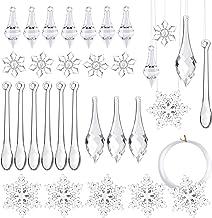 FEPITO 50 PCS Christmas Decoration Acrylic Icicles Snowflake Hanging Icicles Christmas Icicle Snowflake Ornaments Set for ...
