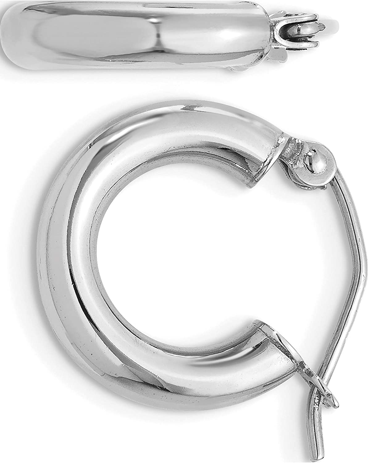 Year-end annual account 14K Bombing new work White Gold Polished 3Mm Lightweight Hoop Earrings Leng Tube