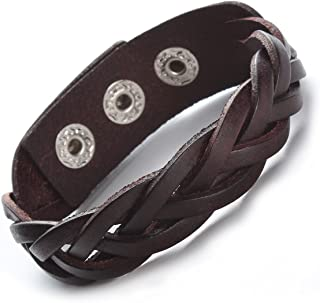 "Godyce Brown Black Genuine Leather Bracelet Braided Wide Women Men Punk - 9"" Button Adjust"