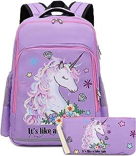 Girls Backpack for Kids Elementary Bookbag Girly School bag Children Laptop Bag (Light Purple)