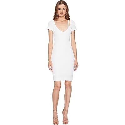DSQUARED2 Textured Viscose Jersey Short Sleeve Dress (White) Women