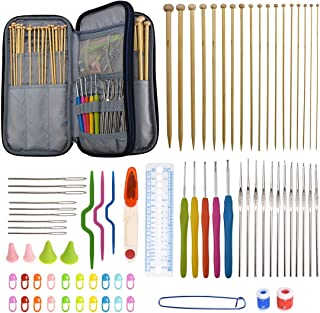 94 Pieces Crochet Hooks & Knitting Needles Set Kit - Portable Case, Contains All The Kntting & Crochet Accessories Fit Any Projects, Ideal Gift for Mom Grandma Girfriend