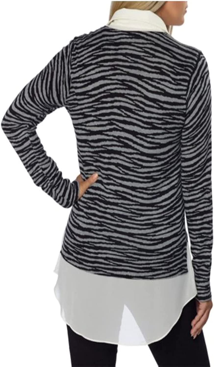 DKNYC Womens Layered Look-Built in Faux Shirt Pullover Sweater