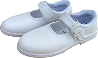 Combit Kids School Shoes Synthetic White Ankle Formal Shoes for Girls Kids