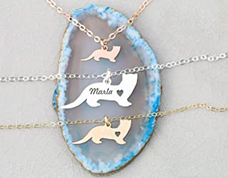Ferret Necklace - Weasel - IBD - Personalize Name Date - Pendant Size Options - 935 Sterling Silver 14K Rose Gold Filled