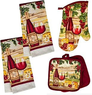 Wine Themed Kitchen Towel Set with 2 Quilted Pot Holders, 2 Dish Towels and 1 Oven Mitt