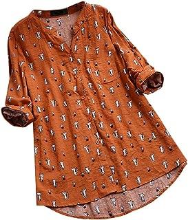 Aniywn Women's Plus Size Linen Vintage T-Shirt Loose Printed Patchwork Short Sleeve Tops Blouse
