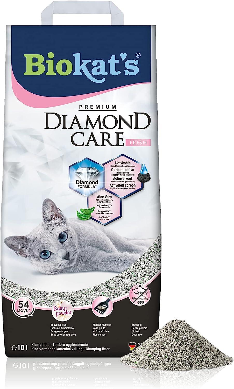 Biokat's Diamond Care Fresh, con fragancia - Arena fina con carbón activo y aloe vera 1 saco (1 x 10 l)