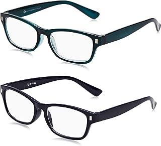The Reading Glasses Company 2 Pack Donkerblauwe Aquamarijn Leesbril voor Heren/Vrouwen, Optical Power +3.50, 0.05799999999...