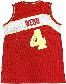 Signed Spud Webb Jersey - Away Red - JSA Certified - Autographed NBA Jerseys