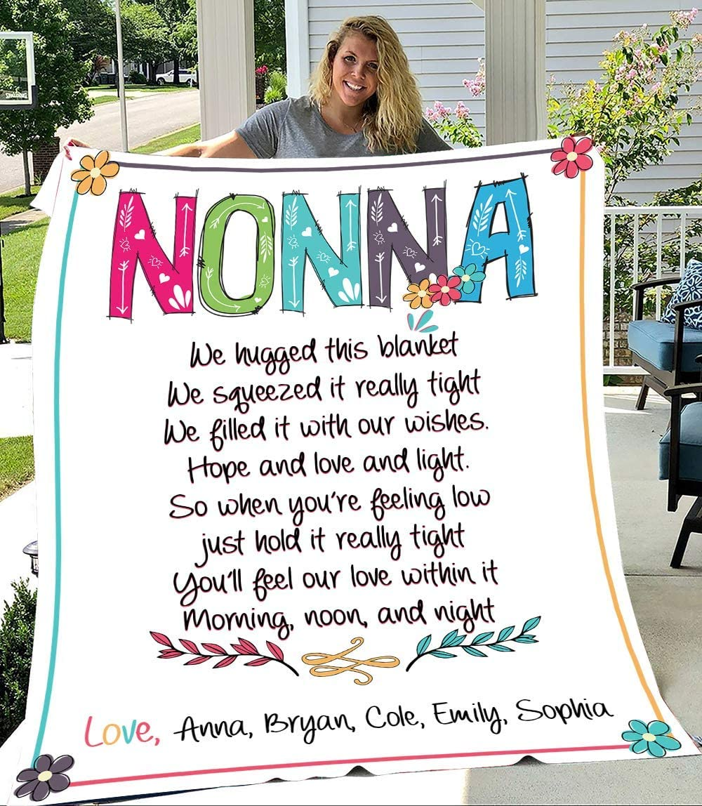 Nonna We Hugged This trend rank Blanket Grandma Na with Kid's Philadelphia Mall Personalized