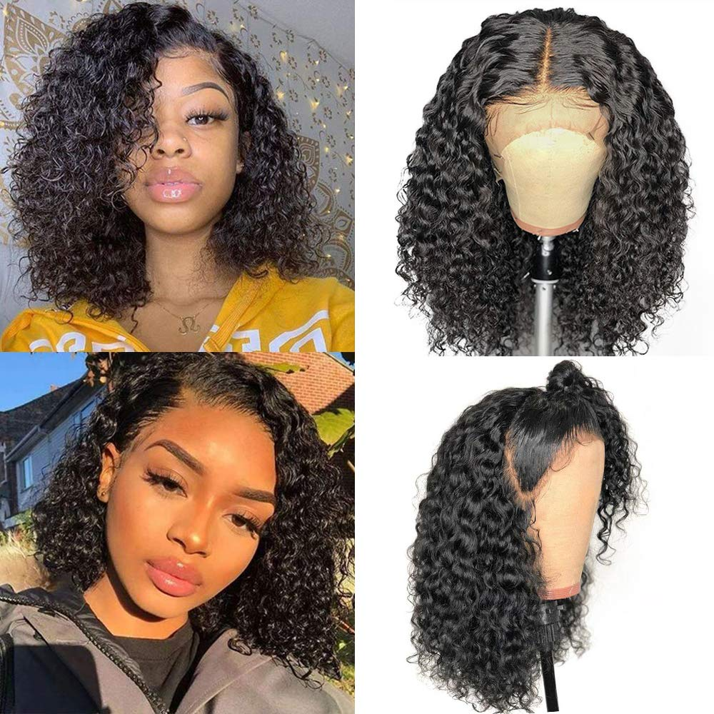 Larhali Short Curly Bob Wigs Brazilian Virgin Human Hair 20x20 Lace Front  Wigs Kinky Curly Hair For Black Women Pre Plucked with Baby Hair 20  Density ...